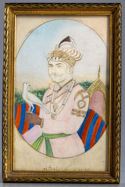 A Mughal miniature of a prince Gouache heightened with gold on paper, depicting a…