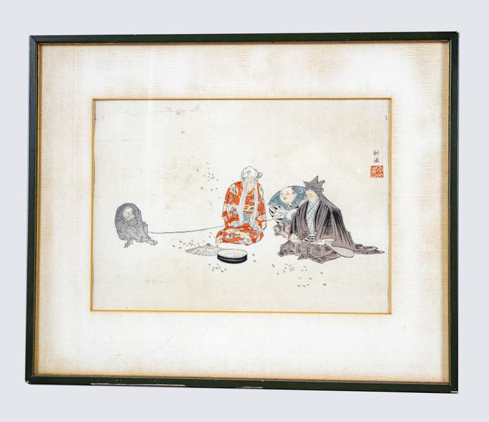 A Japanese framed oban of Kogyo A horizontal oban from the series Nohaku zue, depicting…