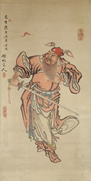 A Chinese hanging scroll of the demon queller Zhong Kui A Chinese hanging scroll…