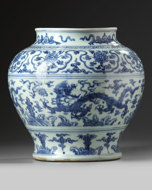 A Chinese blue and white 'dragon' jar A Chinese porcelain jar, decorated with dragons…