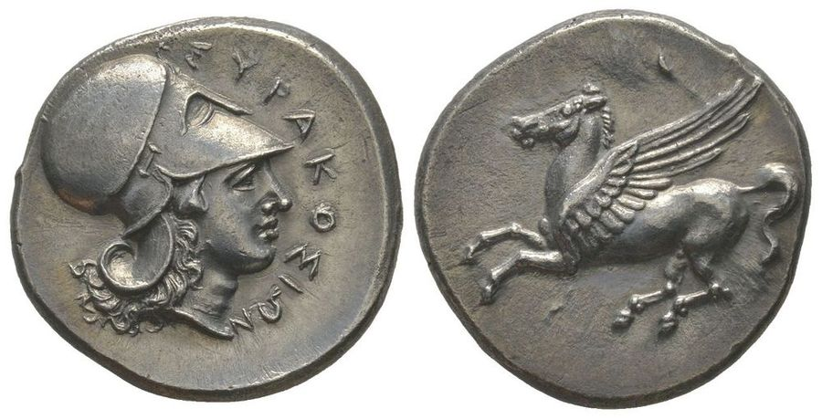 GREEK COINS Stater, Syracuse, 344-335 BC, AG 8.52 g  Ref : SNG ANS 496-510  Provenance…