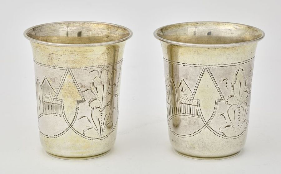 Silver Judaica beakers (kiddush cups), beggining of the XXth century (53 and 56…