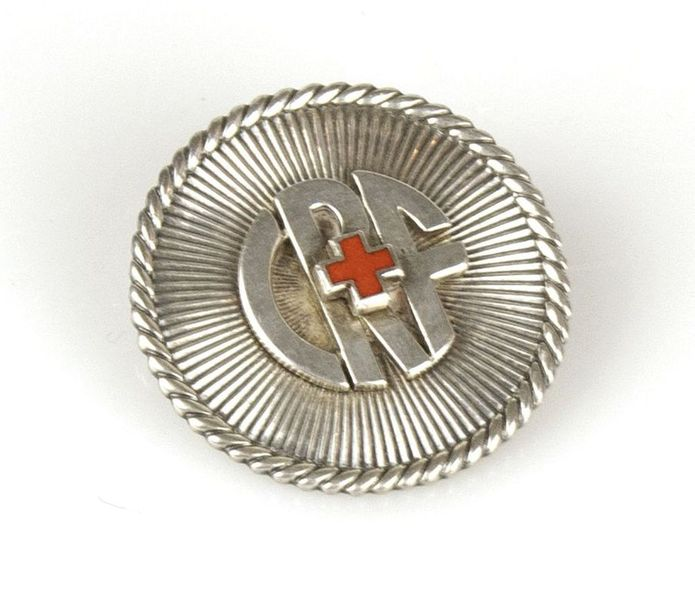French Red Cross Pin Signed Van Cleef and Arpels,  Stamped déposé Red enamel, silver,…