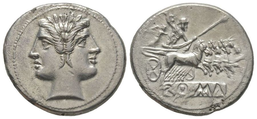 ROMAN COINS Anonymous, Didrachm, Rome, 225-212 BC, AG 6,39 g.  Ref : Cr. 28.  Extremely…
