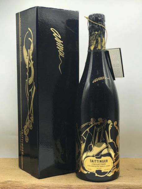 "1 bouteille Champagne Taittinger collection ""Arman"" 1981 (coffret d'origine)."