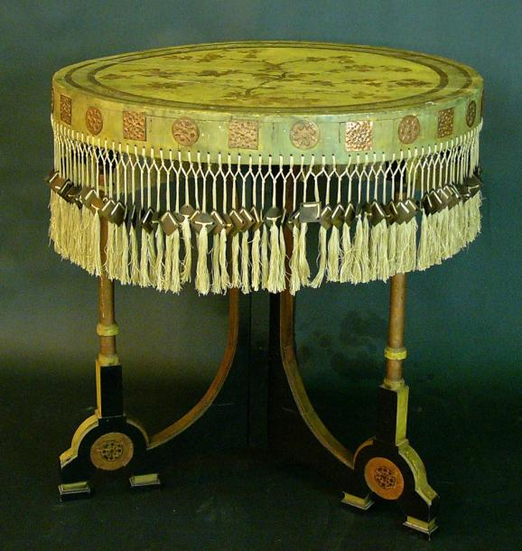 Carlo Bugatti (1856-1940) Round table with painted top, in yellow and grey colours,…
