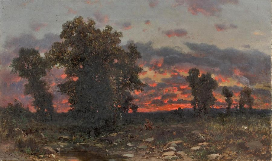 Ettore CUMBO (Messine, 1833 ? 1899) Paysage au crépuscule Toile. Accidents. 29 x…