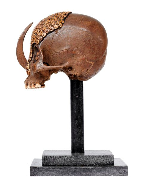 Ethnographica: A Dayak tribe human skull on stand, 35cm high overall