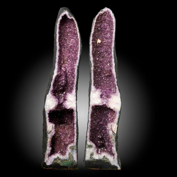 Minerals: A large pair of amethyst chimneys, Brazil, 141cm