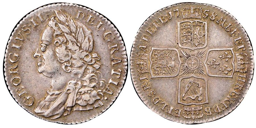 Great Britain George II 1727-1760  Shilling, London, 1758, AG 30 g.  Ref : Seaby…