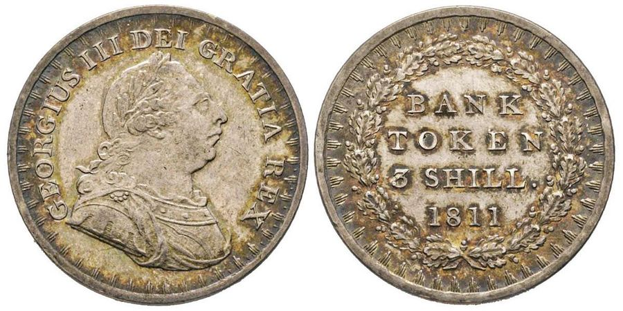 Great Britain George III 1760-1820  3 Shillings, Bank of England, 1811, AG 14.65…