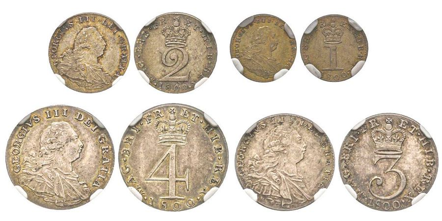 Great Britain George III 1760-1820  Maundy Set, 4-3-2-1 Pence, Set 1800 IIIème type,…
