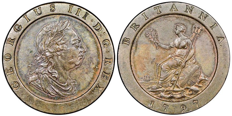 Great Britain George III 1760-1820  2 Pence, SOHO, 1797, Cu 57.06 g.  Ref : Seaby…