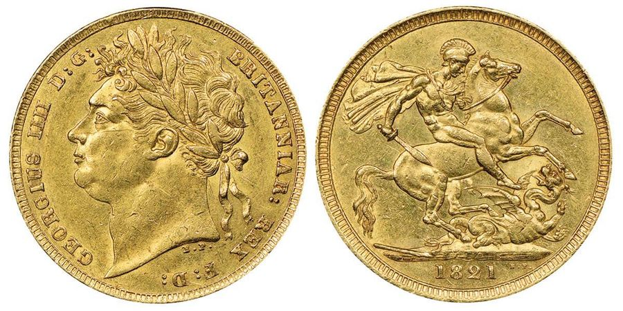 Great Britain George IV 1820-1830  Sovereign, 1821, AU 7.98 g.  Ref : Seaby 3800,…