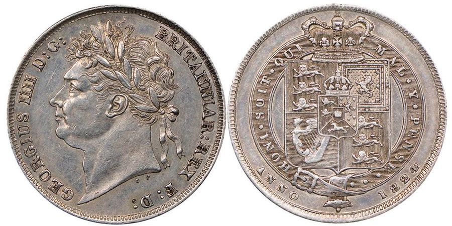 Great Britain George IV 1820-1830  Shilling, 1824, AG 5.65 g.  Ref : Seaby 3811,…