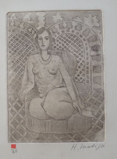 Henry Matisse (atributed) gravure, pencil hand signed,28.8x23.2- cm,Matisse is commonly…