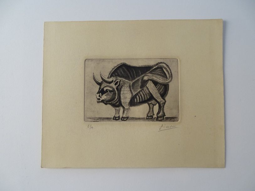 Pablo Picasso (atributed) gravure, pencil hand signed,28.4x23.2 cm,Picasso demonstrated…