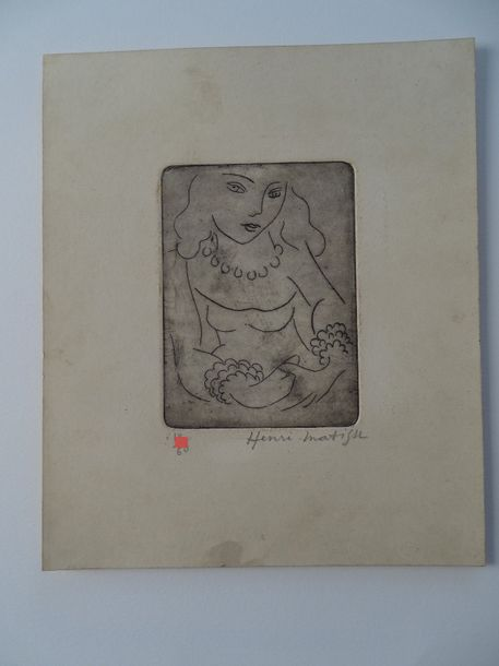 Henry Matisse (atributed) gravure, pencil hand signed,27x23- cm ca,Matisse is commonly…