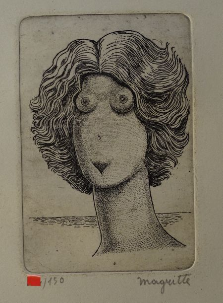 Rene Magritte (attributed), gravure,28x22.5cm,was a Belgian Surrealist artist. He…