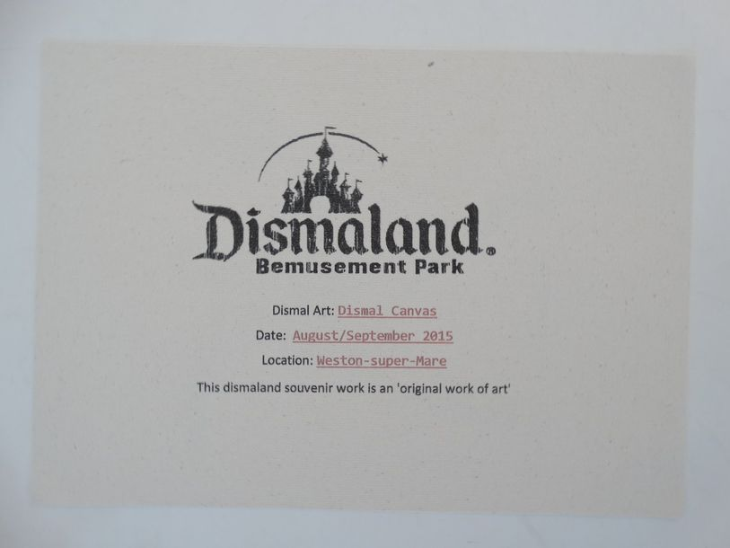 "Dismaland Bemusement Park Stamp on the back.  Original graffiti art on a ""Dismal…"