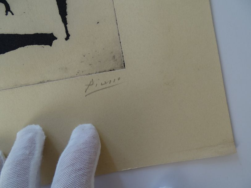 Pablo Picasso (atributed) gravure, pencil hand signed,26x24.5 cm,Picasso demonstrated…