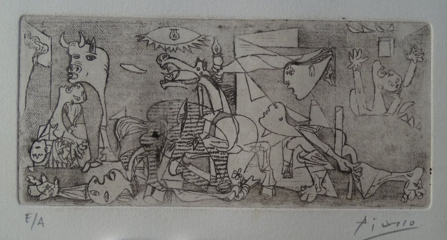 5.0 Pablo Picasso (atributed) gravure, pencil hand signed,30.5X20.5 cm,Picasso demonstrated…