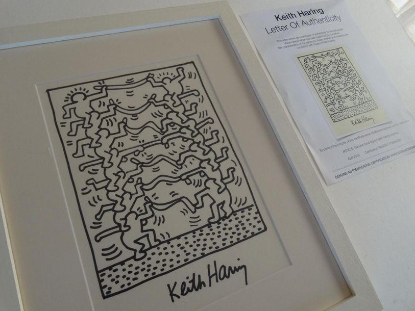 Keith Haring, ink drawing, framed 45´2x36'5cm including the frame, Keith Allen Haring…