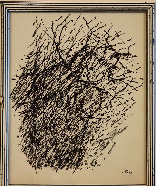 Jacques Germain Jacques Germain - Composition Abstraite    Encre sur papier  Signée…