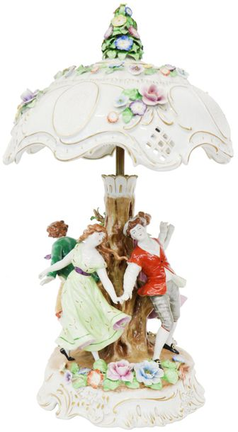 A large porcelain table lamp with romantic representation. Dresden, 20th century.…