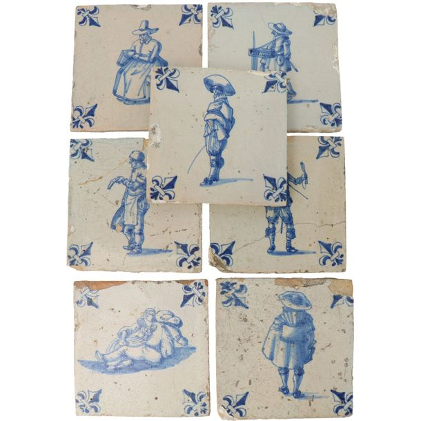 A series of thirteen Delft tiles. 17th century. With French lily motif on the co…