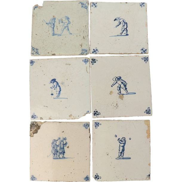 A series of twenty Delft tiles. 17th century and later. On the corners with spider…