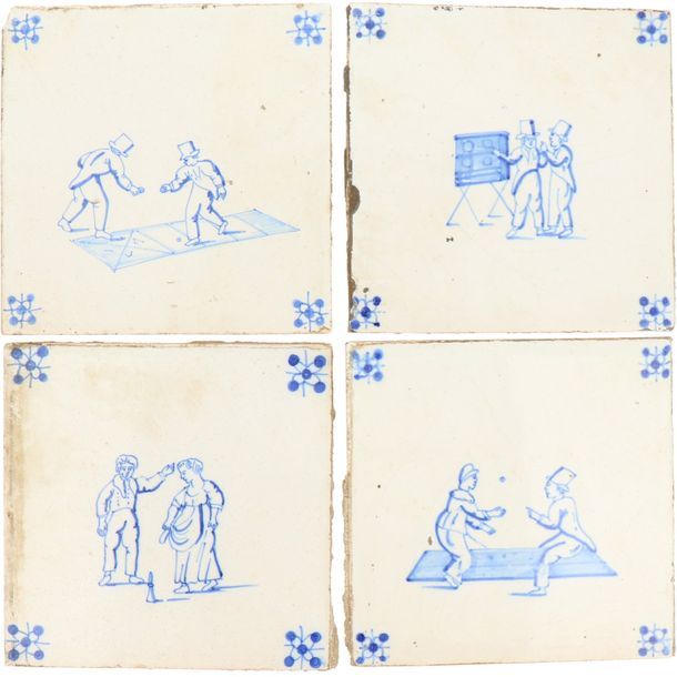 A lot of twelve earthenware tiles with the decor of children's games. Holland, 19th…