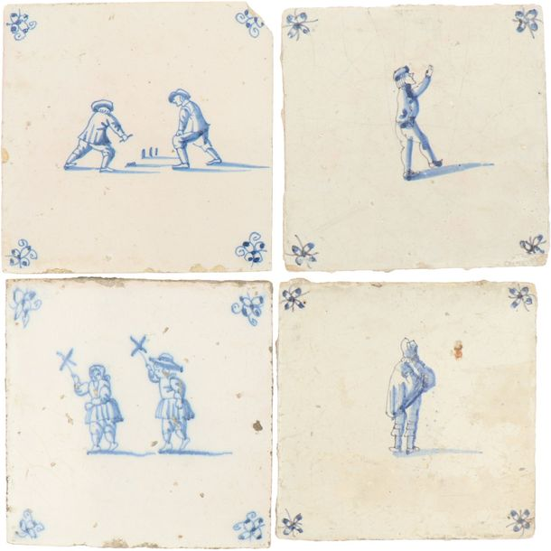 A lot of eight earthenware tiles with the decor of children's games. Holland, 19th…