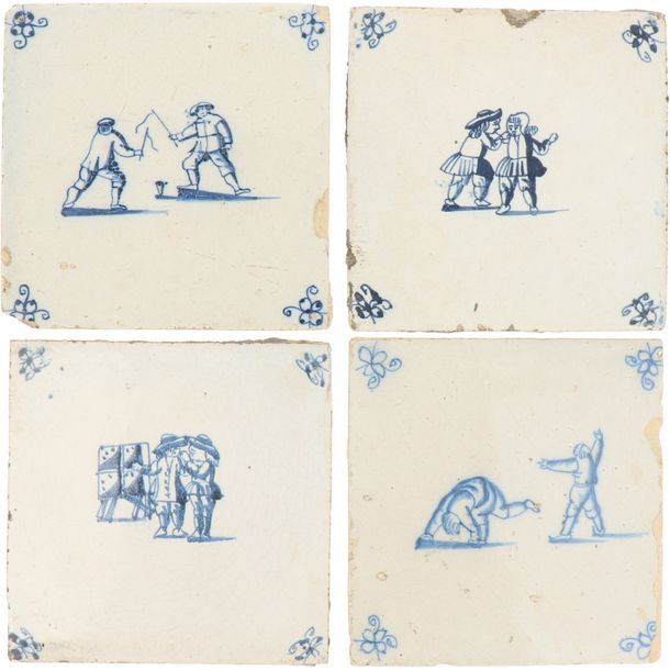 A lot of nine earthenware tiles with the decor of children's games. Holland, 19th…