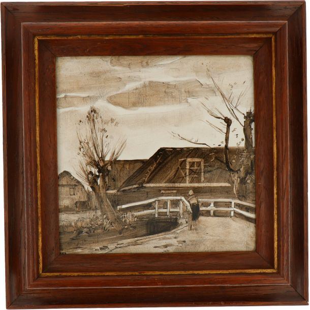A lot with three earthenware tiles with Dutch scenes. Marked Rozenburg, The Hague.…