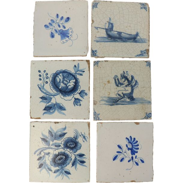 A lot of 12 Delft tiles. 17th century and later. Different designs and colors.