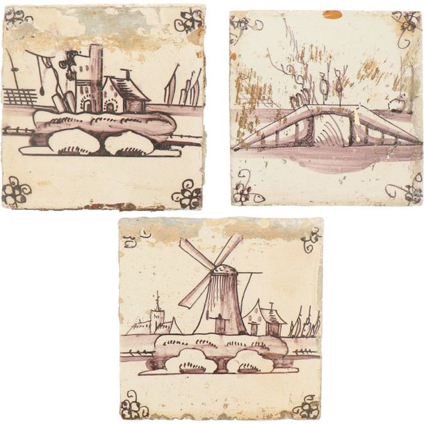 A lot of seven earthenware tiles with landscape decor. Holland, 19th century.