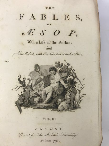 AESOPUS. Fables. With a life of the author. (Ed. by S. Croxall). Lond., J. Stockdale,…