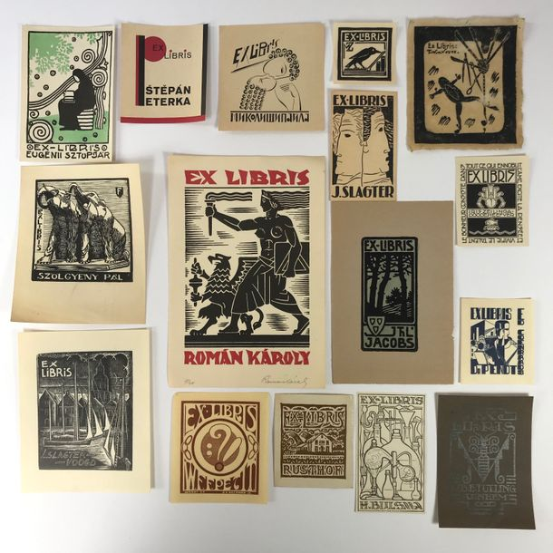 EX LIBRIS -- COLLECTION of c. 110 Dutch & c. 300 foreign bookplates (wood-engravings,…