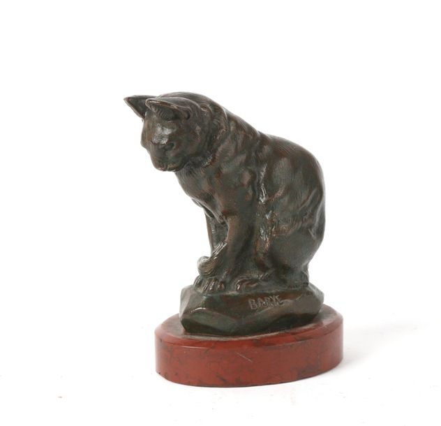 Antoine Louis BARYE (1796-1875) ?, chat, bronze à patine brune, 12X8