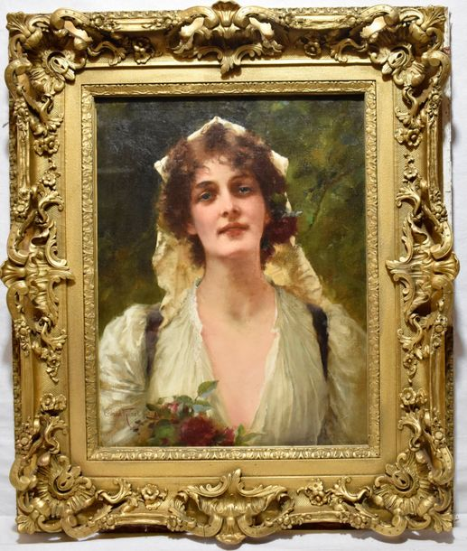Conrad Kiesel Dusseldorf (1845 – 1921) A young beauty  Oil on canvas. Signed lower…