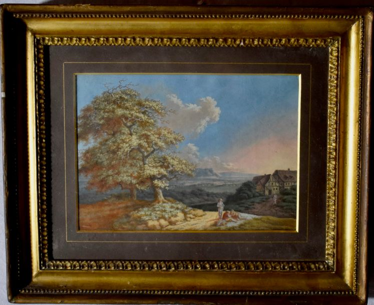 18TH Century Pastel Italian landscape with figures  Pastel on paper board.  Size:…