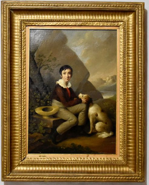 Continental school. English boy with dog Oil on canvas. Unsigned Circa 1900  Size:…