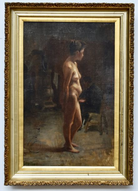 19th Century French School Nude woman pauses with Artist rendering  Oil on canvas.…