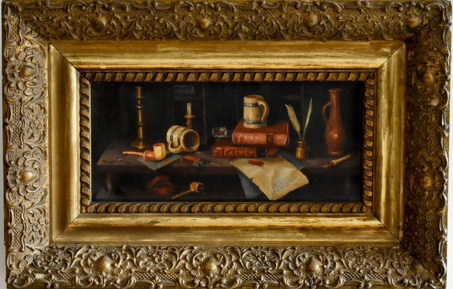 Still life with books & pipes Oil on canvas. Signed indistinctly and dated 1876  Size:…