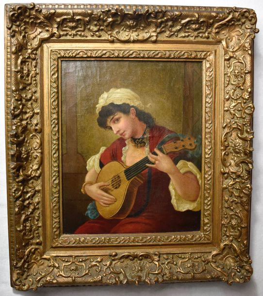 19 Century Painting Oriental girl playing music  Oil on canvas. Unsigned  Size: 12…