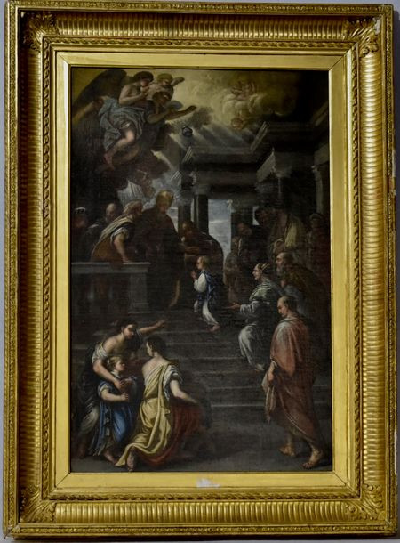 After Luca Giordano around 1760 The presentation of the virgin in the temple  Oil…