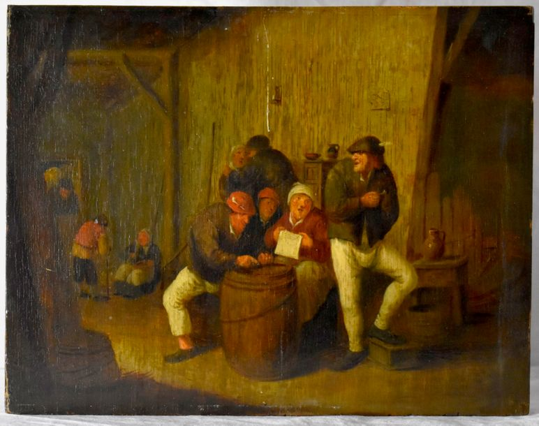 Adriaen Brouwer (Dutch, 1605-1640) Tavern Scene with peasants  Oil on Panel. Signed…
