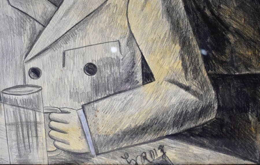 Attributed to George Grosz The Pillars of the Society  Graphite pencil watercolor…