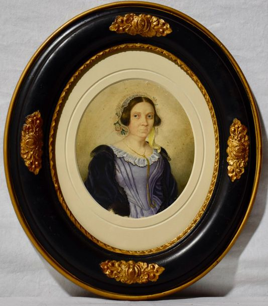 Wiena School, oval painting Deutch 17th century Portrait of a woman  Gouache on paperboard…